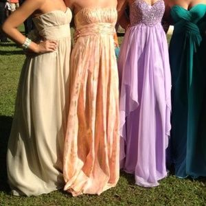 Taupe Prom Dress Tie in the back BCBGMaxAriza